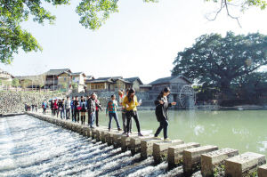 图为游客成群结队走过云水谣石阶。 郭碧燕 曾雍维 摄影报道